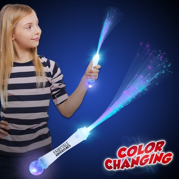 "Custom 15"" White Fiber Optic LED Light Up Glow Wand with Strobe"