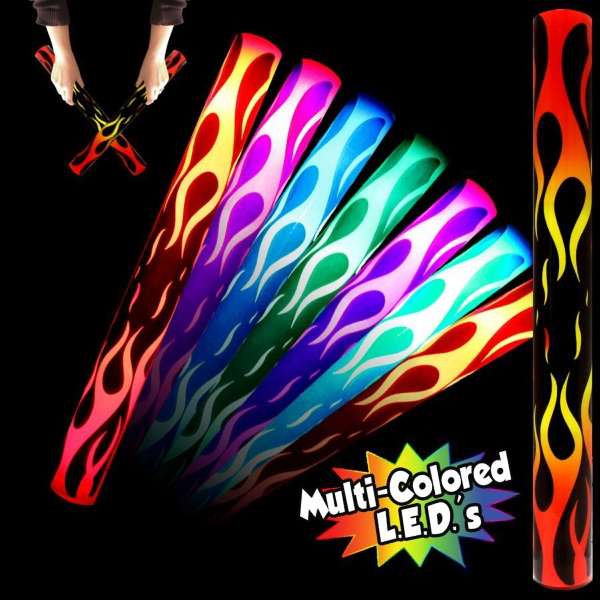 Imprinted Flame LED Cheering Light up Glow Lumiton Baton Wand