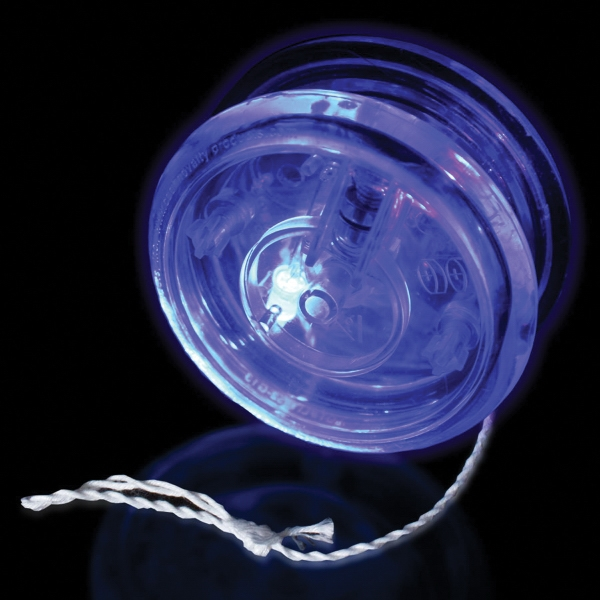 "Customized 2 3/8"" Blue Light Up Glow LED Yo-Yo"