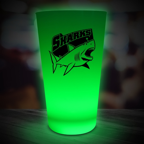 Printed Green LED Light Up Drinking Neon Look 16 oz Pint Glass