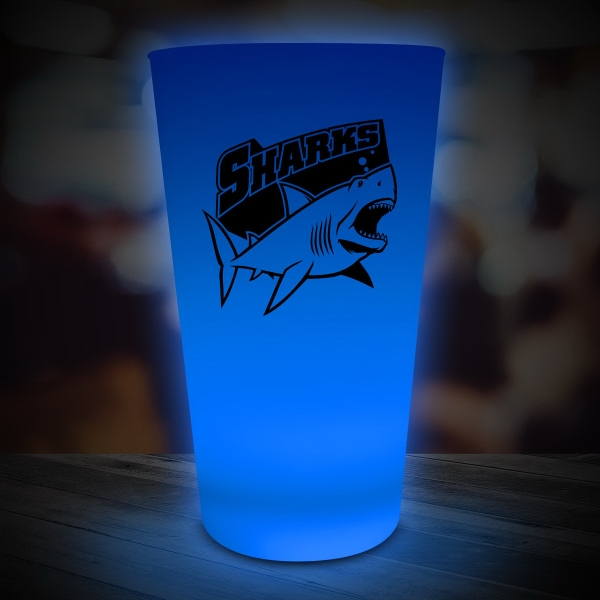 Personalized Blue LED Light Up Glow Neon Look 16 oz Drinking Pint Glass