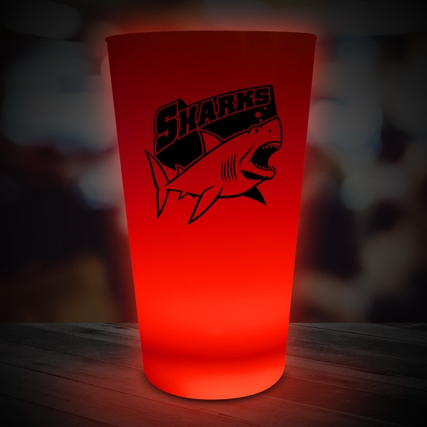 Imprinted Red LED Glow Light Up Neon Look 16 oz Pint Glass