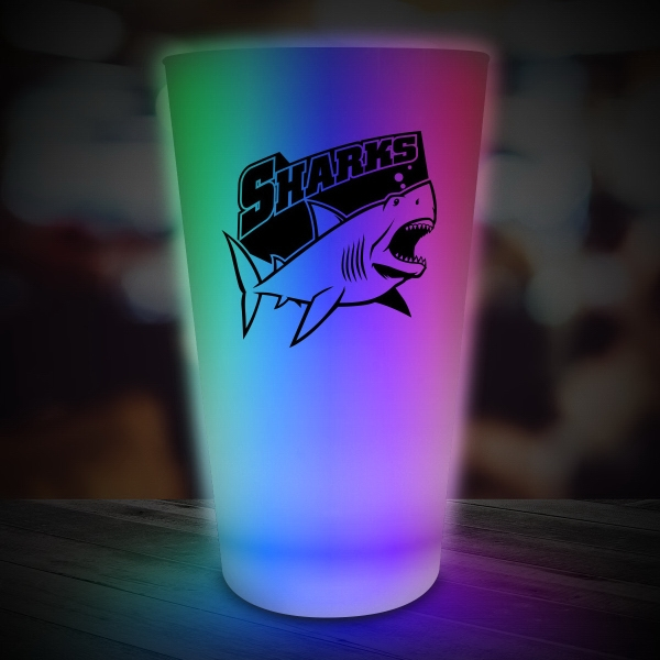 Imprinted Multi Color LED Light Up Glow Neon Look 16 oz Pint Glass