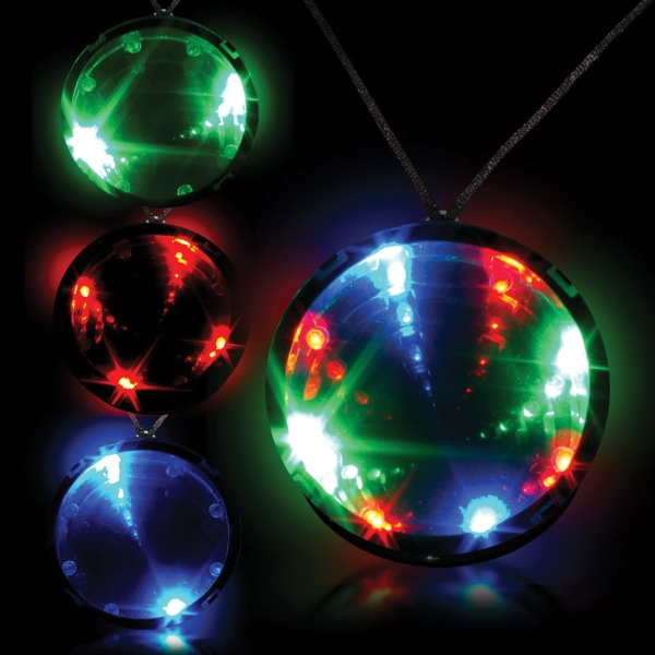 "Personalized Tri Color 2 3/4"" Infinity Glow LED LightUp Badge w/ Necklace"