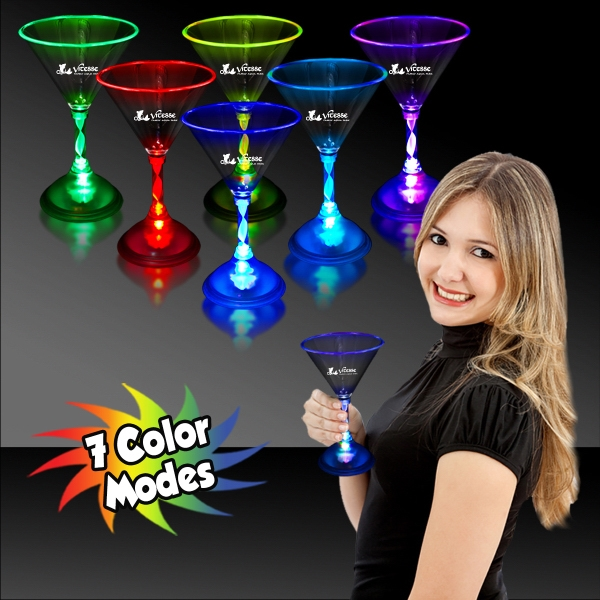 Printed 7 1/2 oz. Light Up MultiColor Glow LED Martini Glass