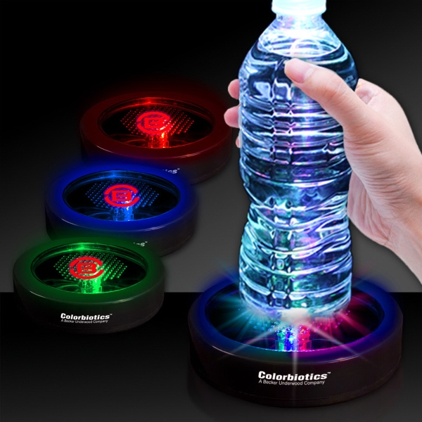 "Promotional 3 1/2"" Rainbow Light Up LED Glow Drink Coaster"