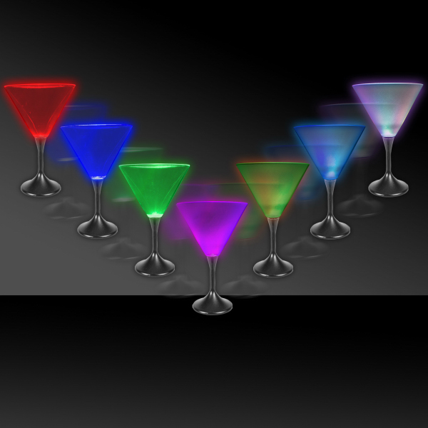 Customized 7 oz. Lighted LED Frosted Martini Glass with Black Base