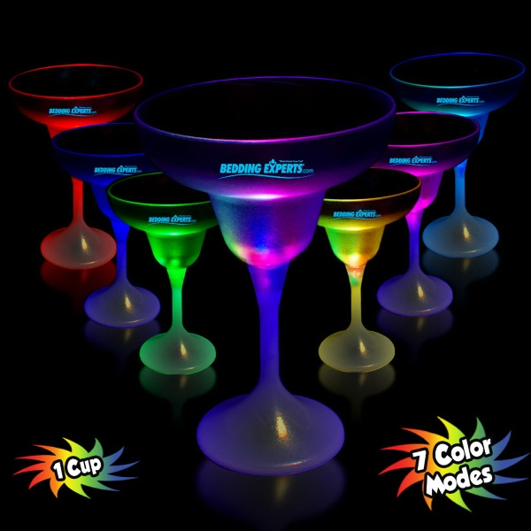 Customized 10 oz. LED Lighted Frosted Margarita Glass with White Base
