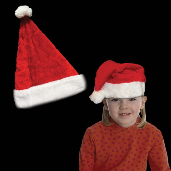 Printed Plush Santa Hat Child's Size