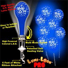 Promotional Mazel Tov Lumi-Loon Pro Blue Balloons with Blue LED's