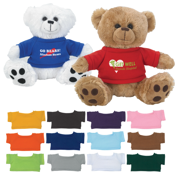 "Imprinted 8 1/2"" Plush Big Paw Bear With Shirt"