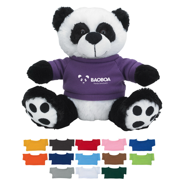 "Promotional 8 1/2"" Plush Big Paw Panda With Shirt"