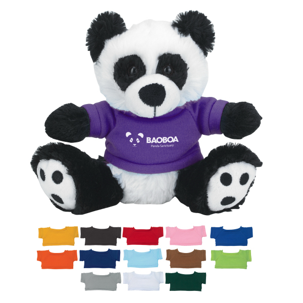 "Personalized 6"" Plush Big Paw Panda With Shirt"