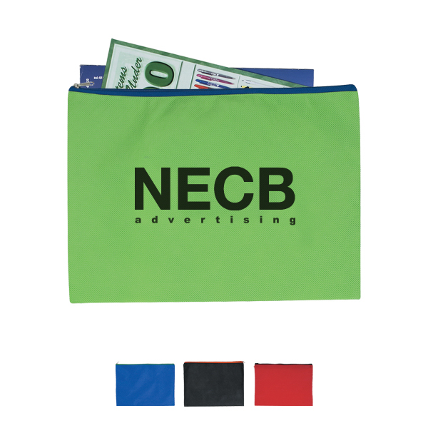 Personalized Non-Woven Document Sleeve with Zipper