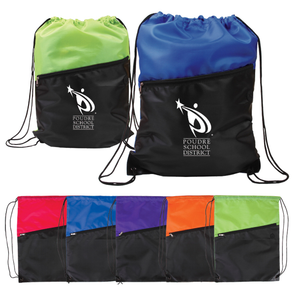 Customized Two-Tone Poly Drawstring Backpack w/ Zipper
