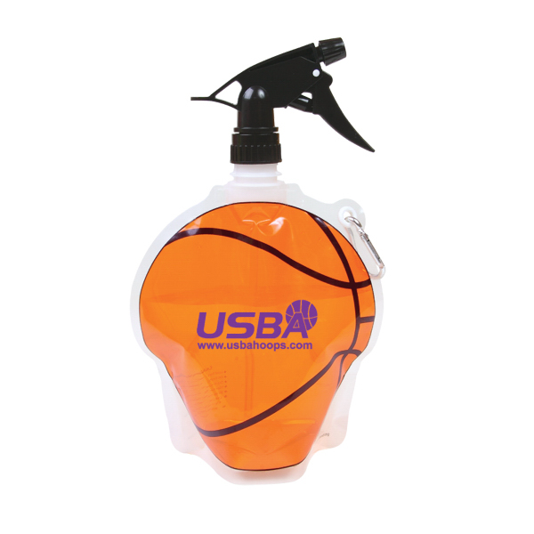 Imprinted HydroPouch! 24 oz. Basketball Collapsible Spray Top Bottle