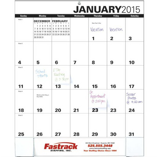 Printed Adhesive Note Monthly Pad