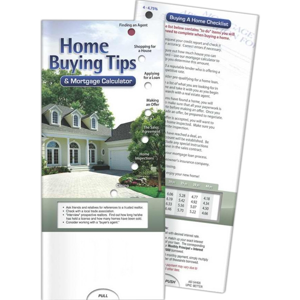 Printed Pocket Slider - Home Buying Tips and Mortgage Calculator