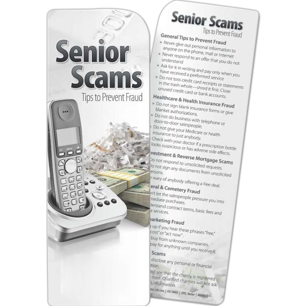 Promotional Bookmark - Senior Scams: Tips to Prevent Fraud