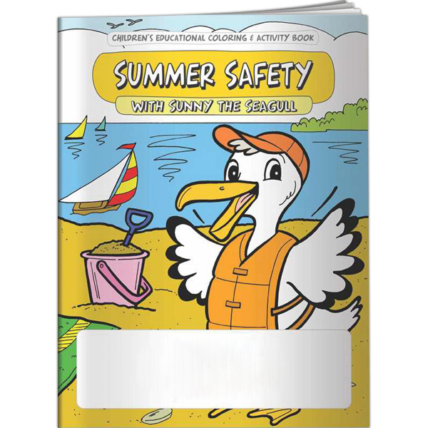 Customized Coloring Book - Summer Safety with Sunny the Seagull