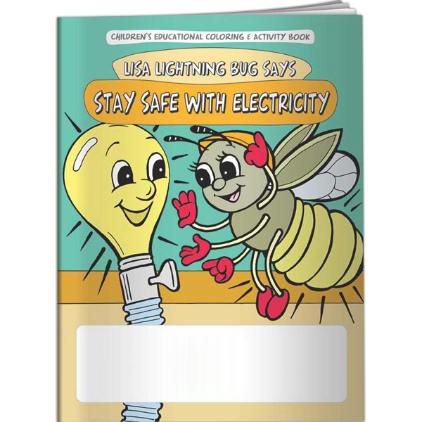 Printed Coloring Book - Lisa Lightning Bug Says Stay Safe with Elect