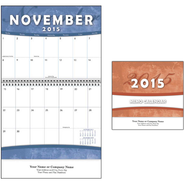 Imprinted Kingswood Collection Big Block Memo Wall Calendar