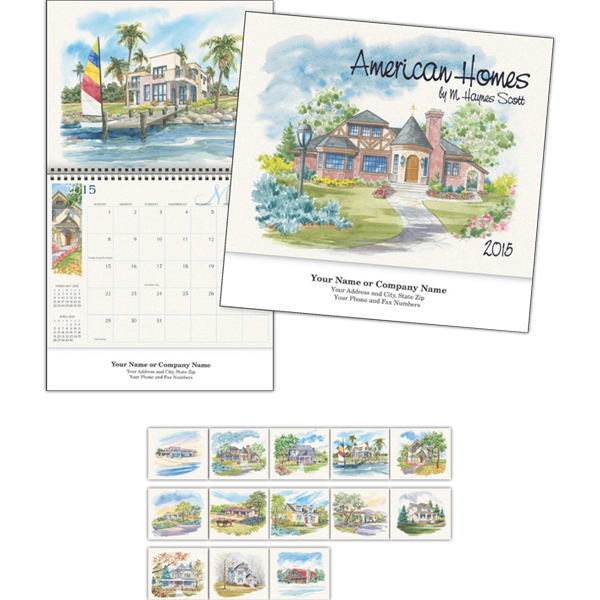 Personalized Kingswood Collection American Homes Wall Calendar