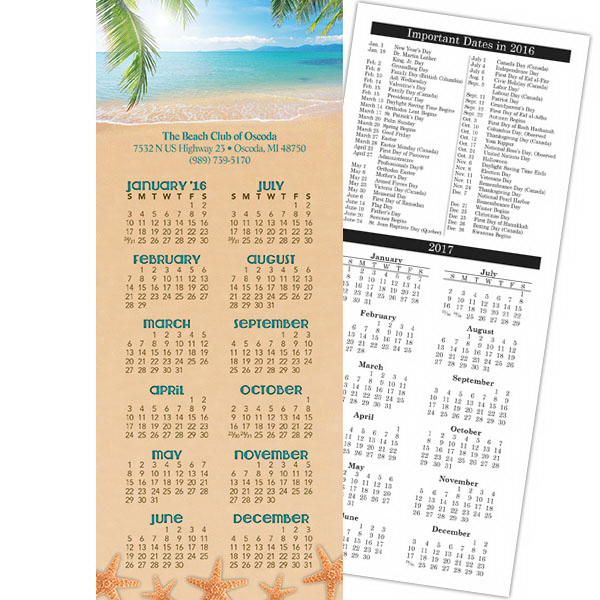 Personalized Economy Collection Beach 2-Sided Calendar