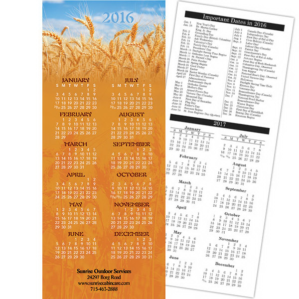 Printed Economy Collection American Agriculture 2-sided Calendar