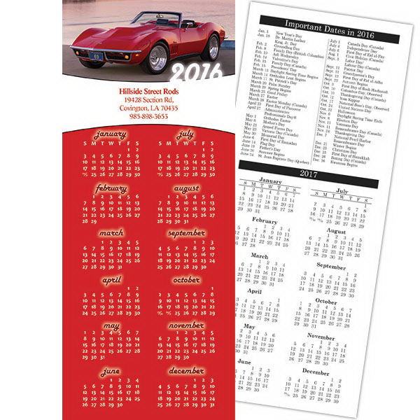 Imprinted Economy Collection Muscle Car 2-Sided Calendar