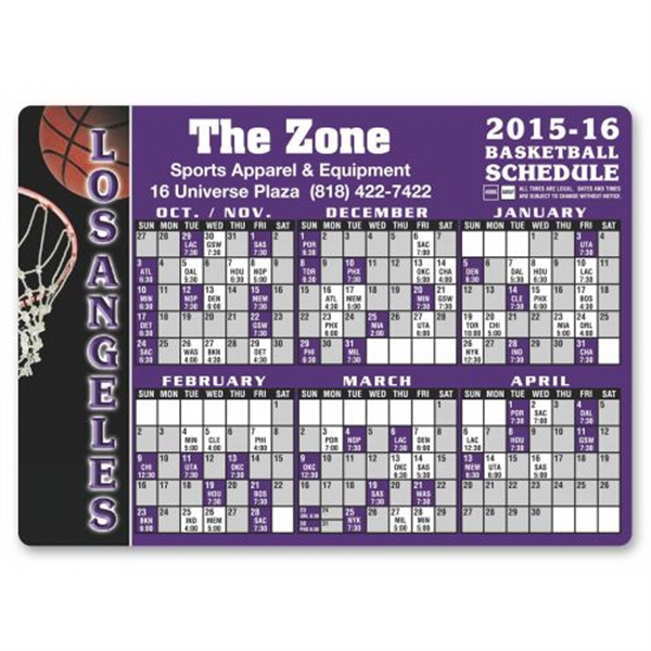 Personalized Basketball Sports schedule magnet