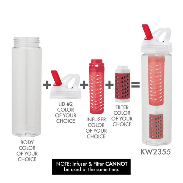 Customized 25 oz. PET Bottle With Flip Spout, Infuser & Filter