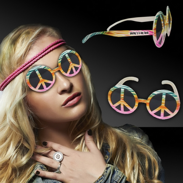 Printed Tie Dye Peace Sign Costume Sunglasses