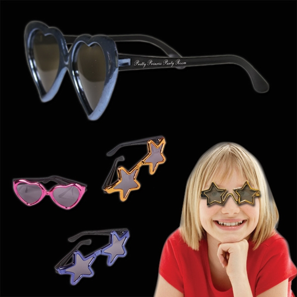 Customized Children's Metallic Sunglasses in Assorted Colors and Shapes