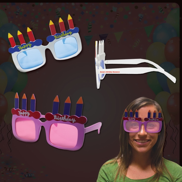 Custom Happy Birthday Sunglasses in Assorted Colors