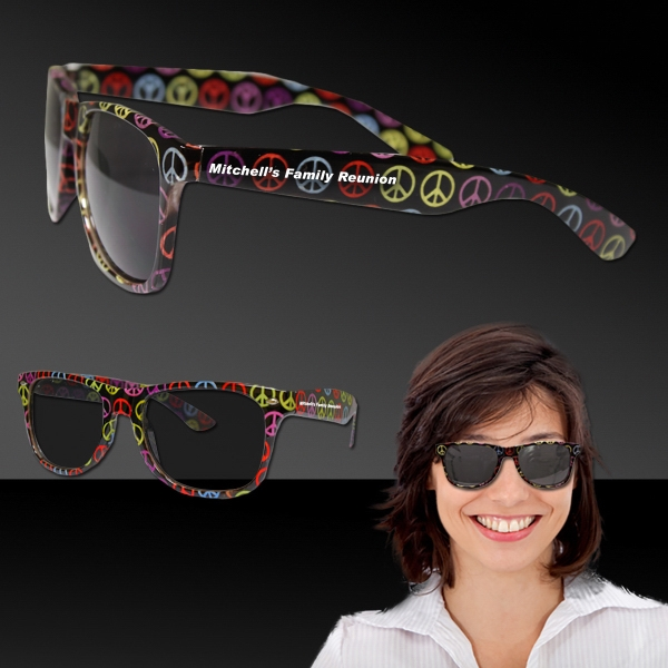 Imprinted Peace Sign Blues Sunglasses