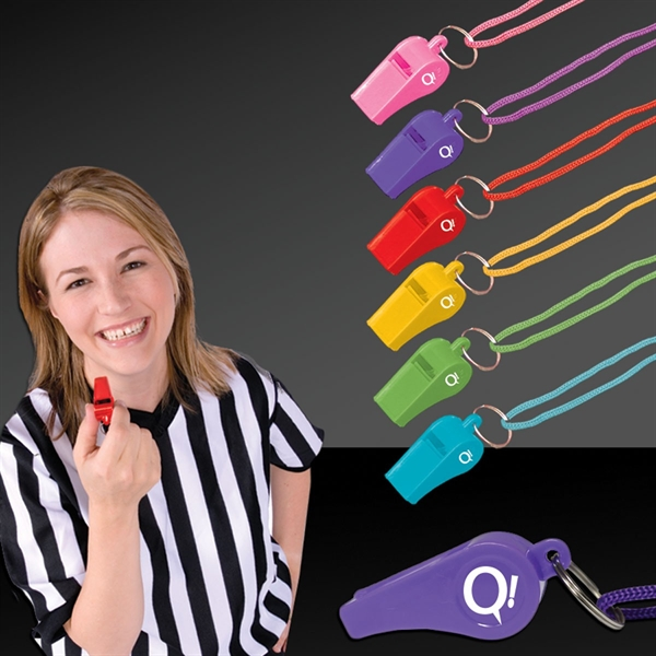 """Customized 2"""" Plastic Whistles with Lanyard"""