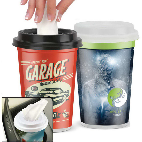 Customized Facial Tissues in a Plastic to Go Cup