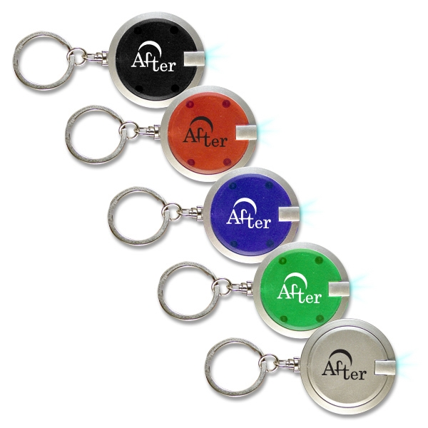 "Printed 1.5"" Premium Round LED Key Chain"