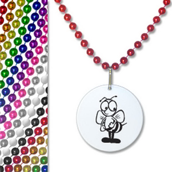 "Printed 33"" Bead Necklace with Pendant"
