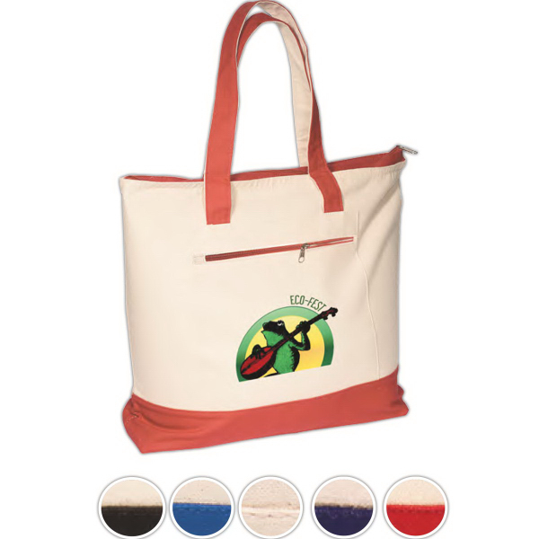 Imprinted Eco-Responsible (TM) Zippered Cotton Boat Tote
