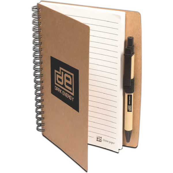 Custom Stone Paper Spiral Notebook with Pen