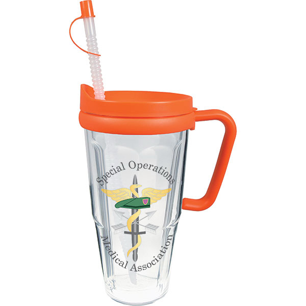 Printed 24oz Thermal Travel Mug with Lid & Handle