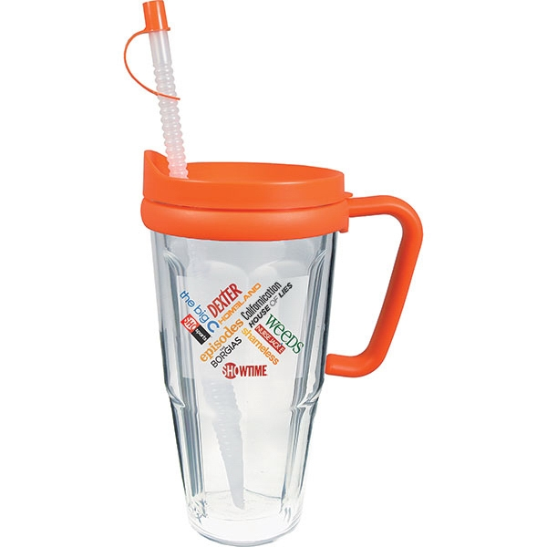 Printed 24oz Travel Thermal Mug with Lid & Handle