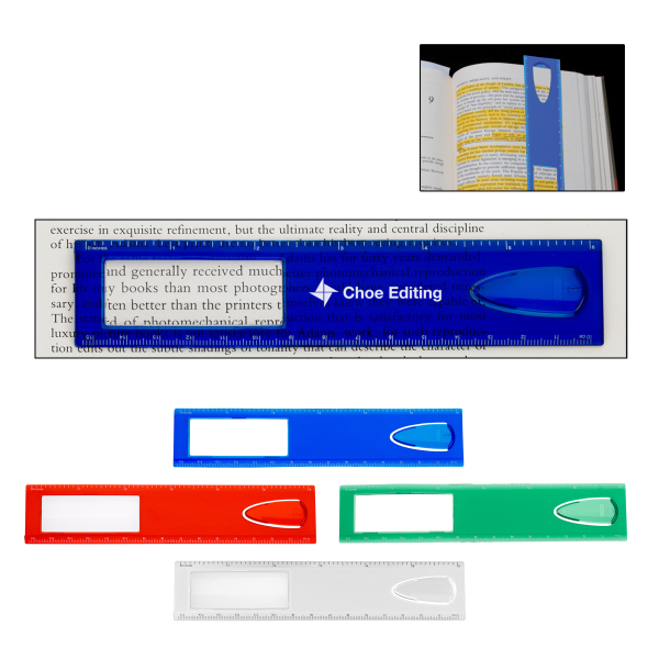 "Customized 6"" Magnifier Ruler With Bookmark"