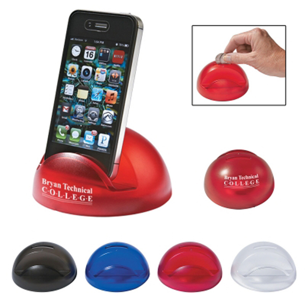 Imprinted Bubble Phone Stand Bank