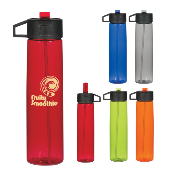 Promotional 25 oz. Water Bottle With Straw