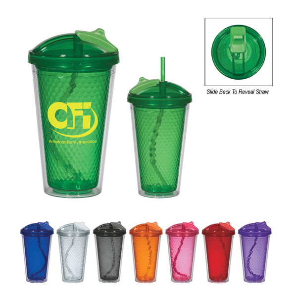Promotional 17 oz. Diamond Double Wall Tumbler with Straw