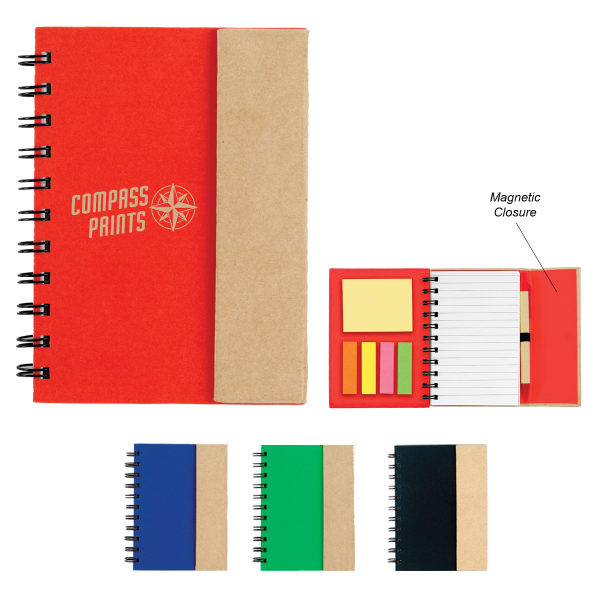 Customized Small Spiral Notebook With Sticky Notes and Flags