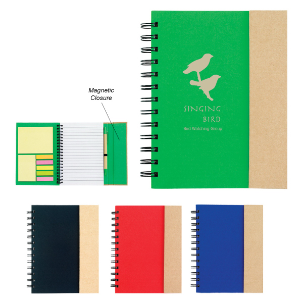 Printed Spiral Notebook With Sticky Notes and Flags